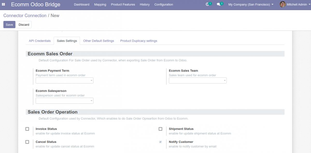 Synchronization settings in Sales Tab of Odoo Bridge for Prestashop