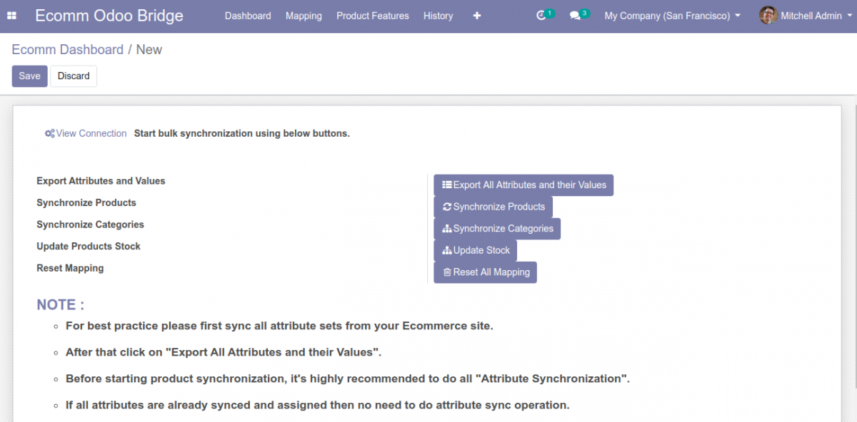 Buttons for bulk synchronization from Odoo to Prestashop