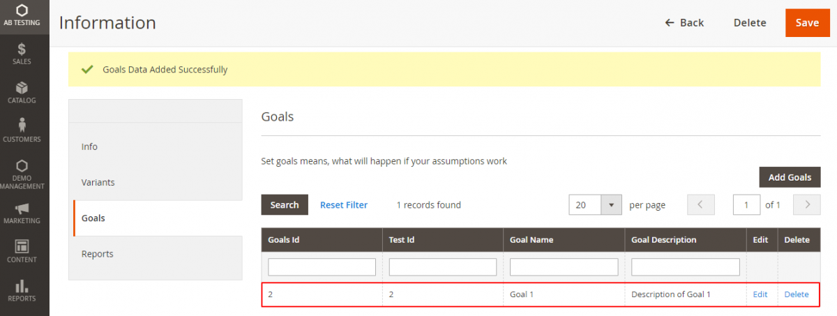webkul-magento2-ab-testing-admin-goal-added-successfully