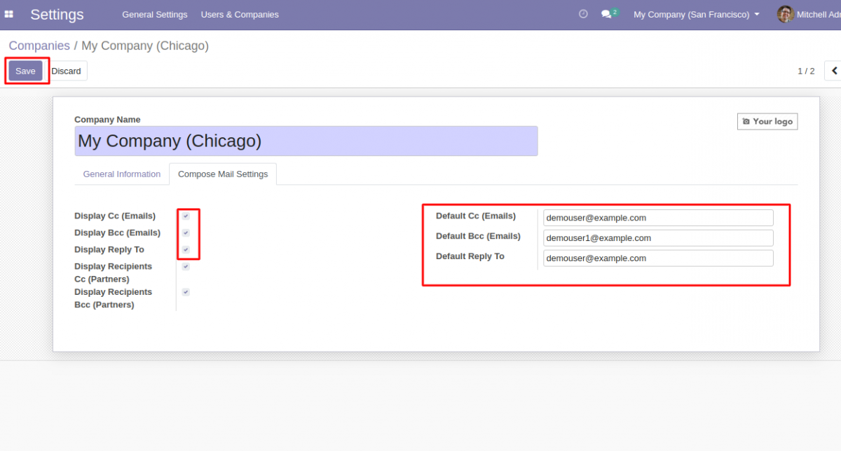 Odoo Email CC and BCC