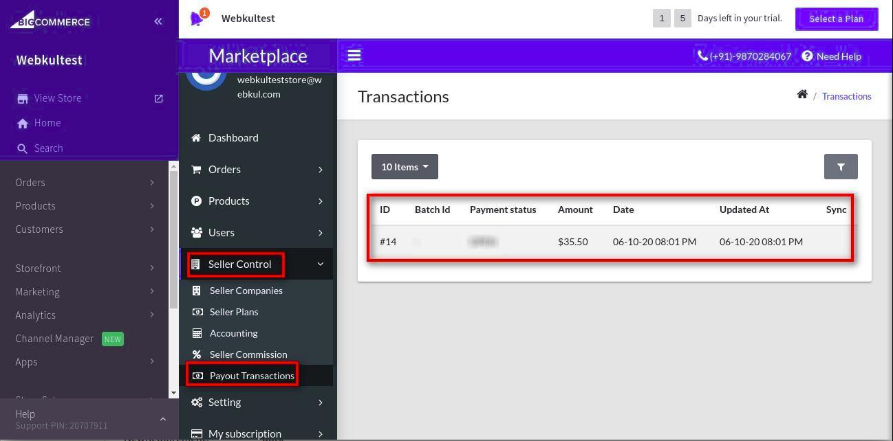bigcommerce marketplace general payout transaction setting