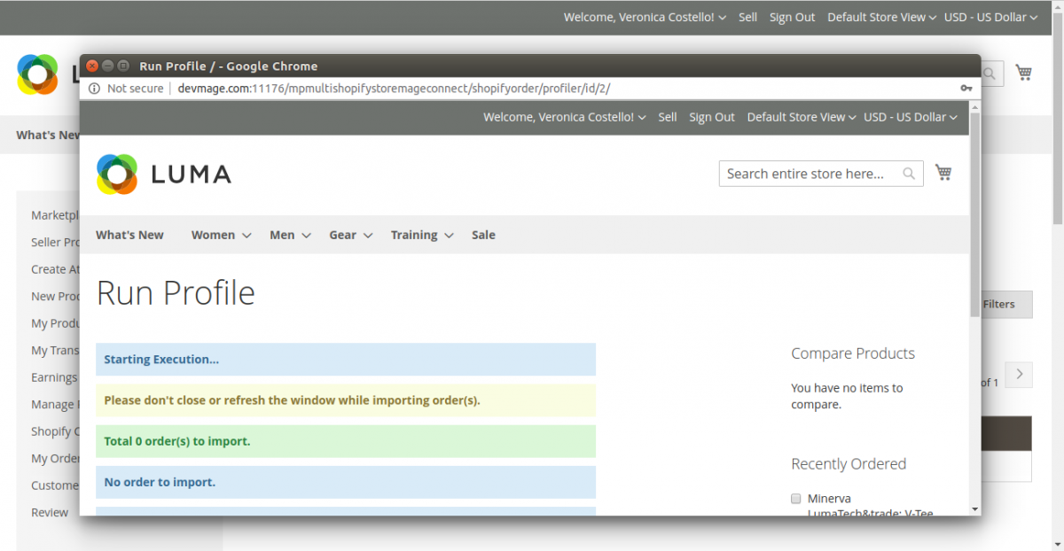 Magento 2 Marketplace Shopify Connector- run-profiler-to-import-orders