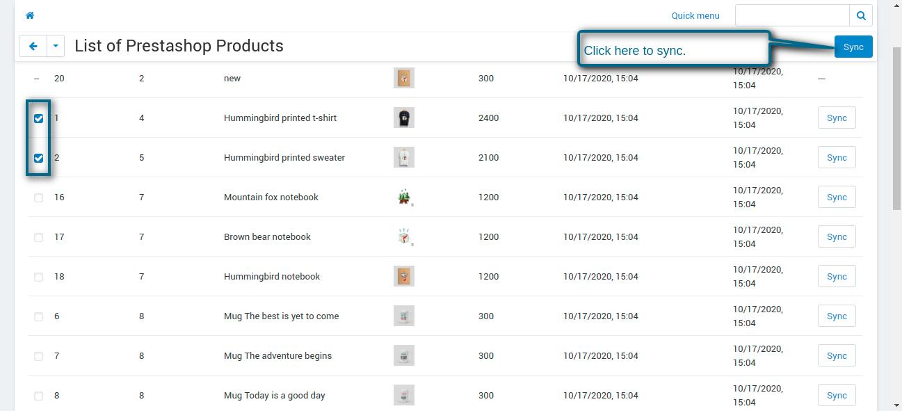 imported product list - action performed