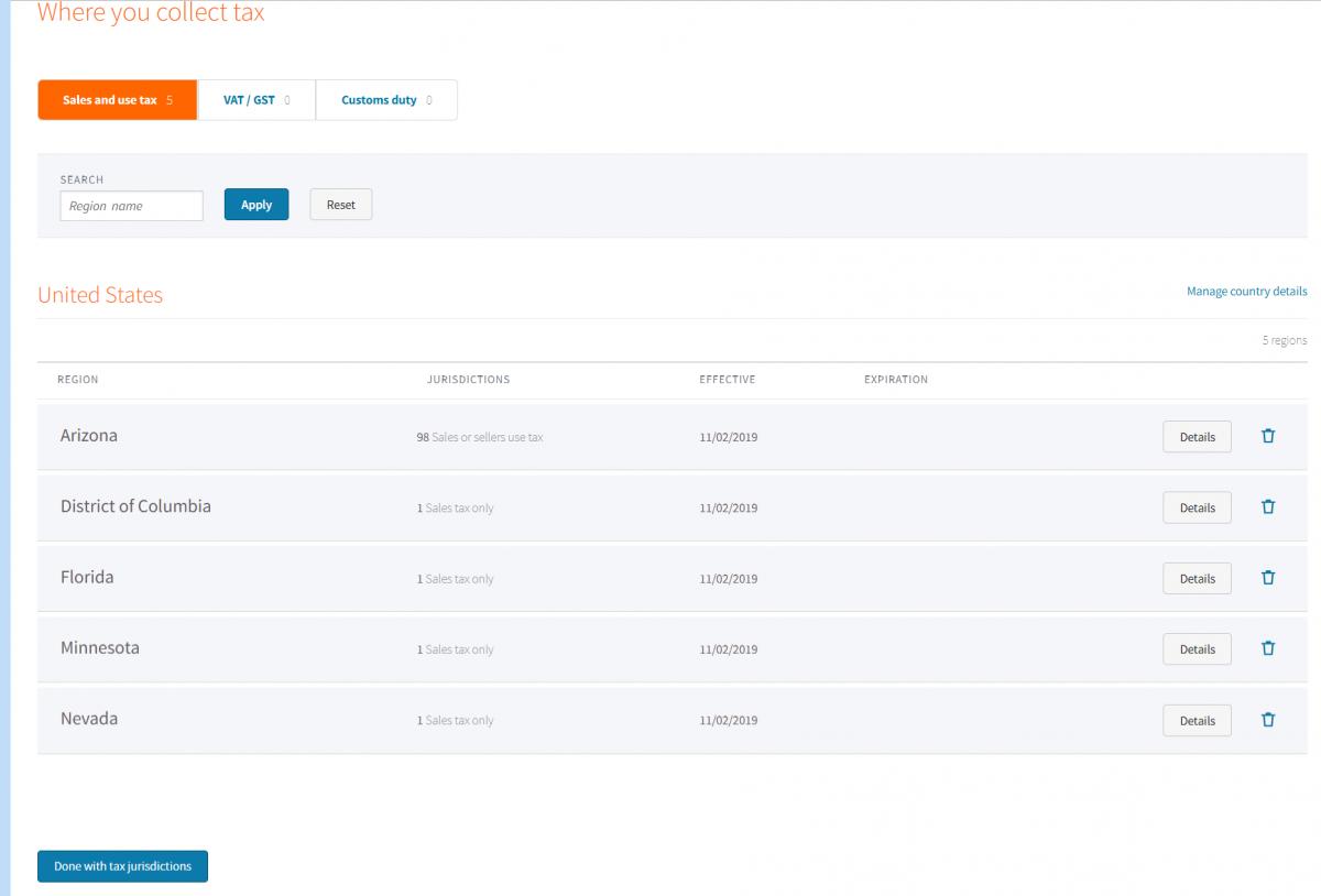 AvaTax-Webkul-Create-company-Webkul-Where-you-collect-Confirm-regions