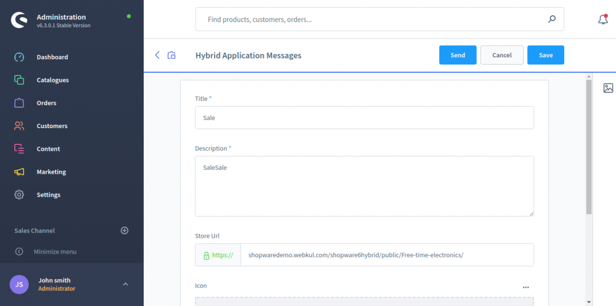 Hybrid-Application-Messages-Shopware-Administration