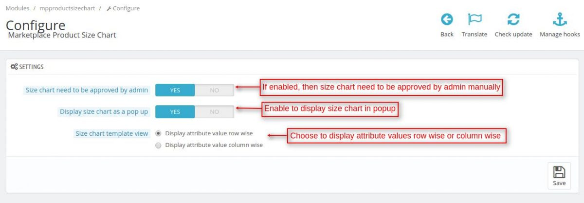 Marketplace Product Size Chart Settings
