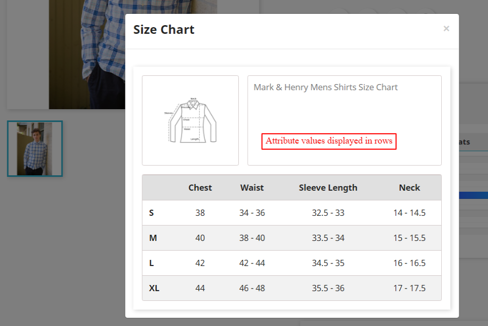 product size chart view