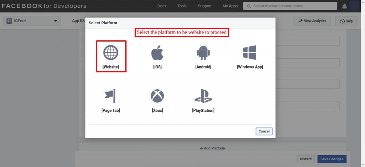 Select the platform as website