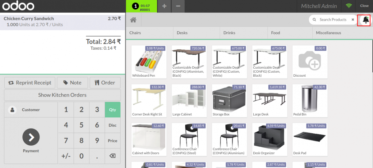 Using POS Kitchen Screen module you get the status of the kitchen orders.