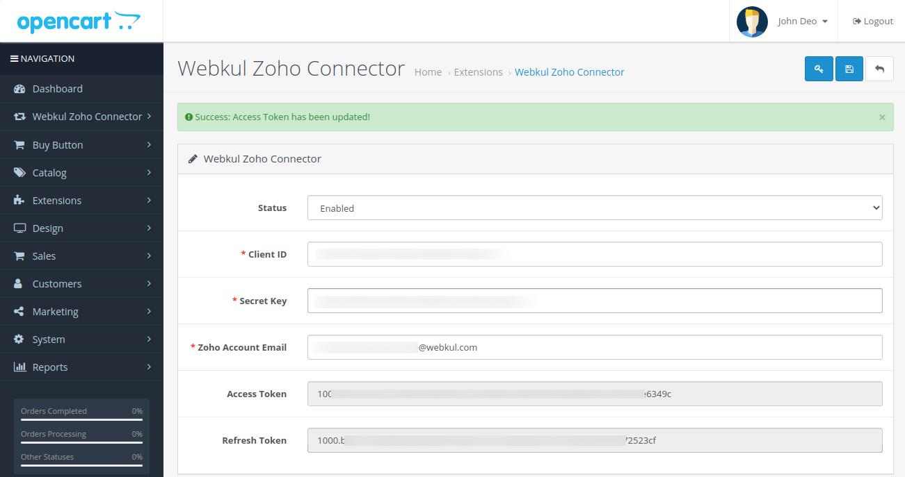 webkul-opencart-zoho-connector-admin-configurations-access-token-updated-2