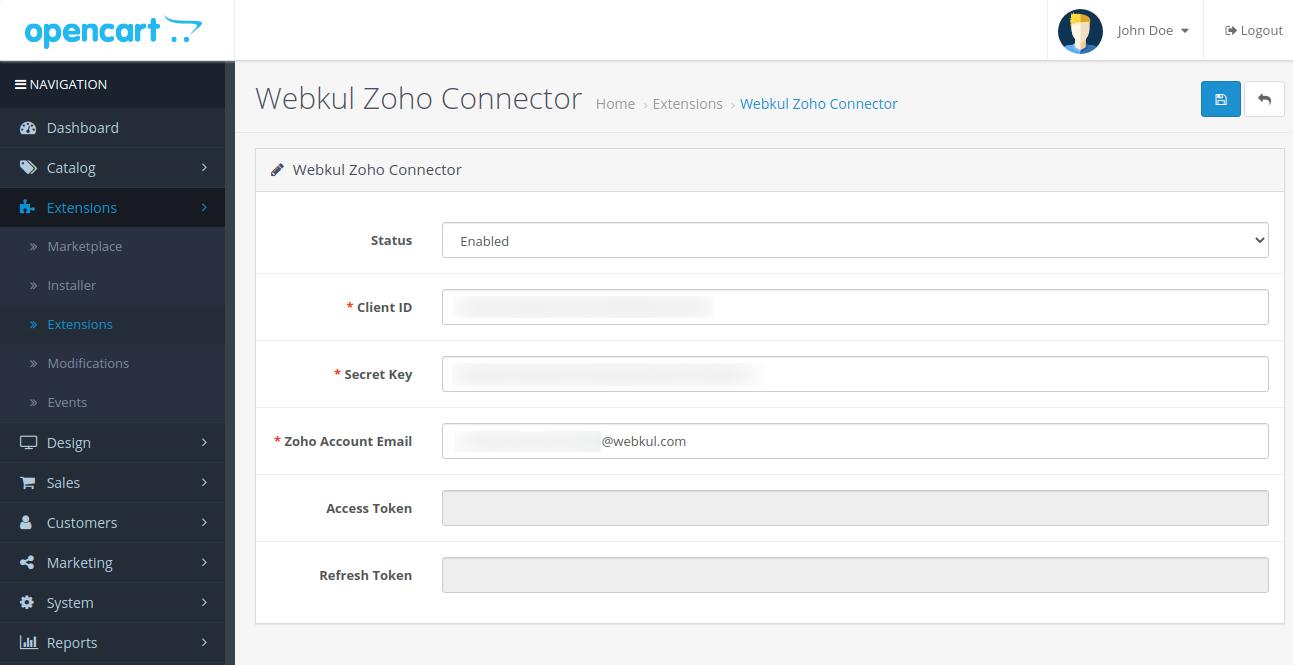 webkul-opencart-zoho-connector-admin-configurations