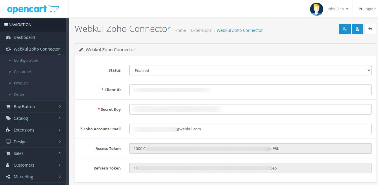 webkul-opencart-zoho-connector-configuration