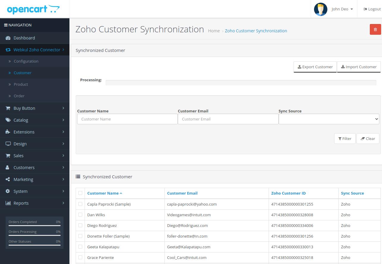 webkul-opencart-zoho-connector-customer-sub-menu-option