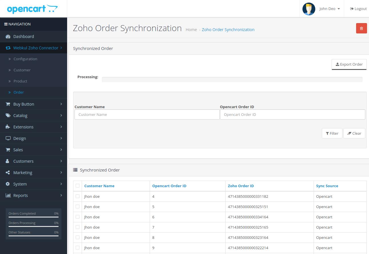 webkul-opencart-zoho-connector-order-sub-menu-option