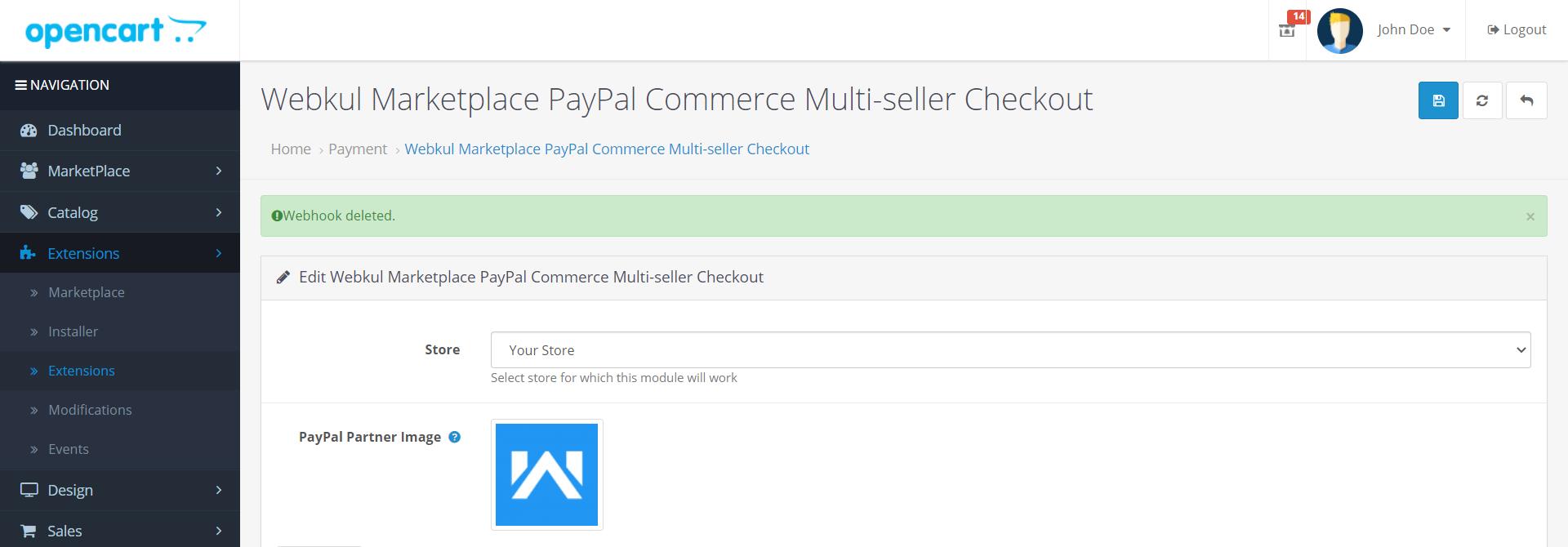 Webkul-Marketplace-PayPal-Commerce-Multi-seller-Delete-webhook