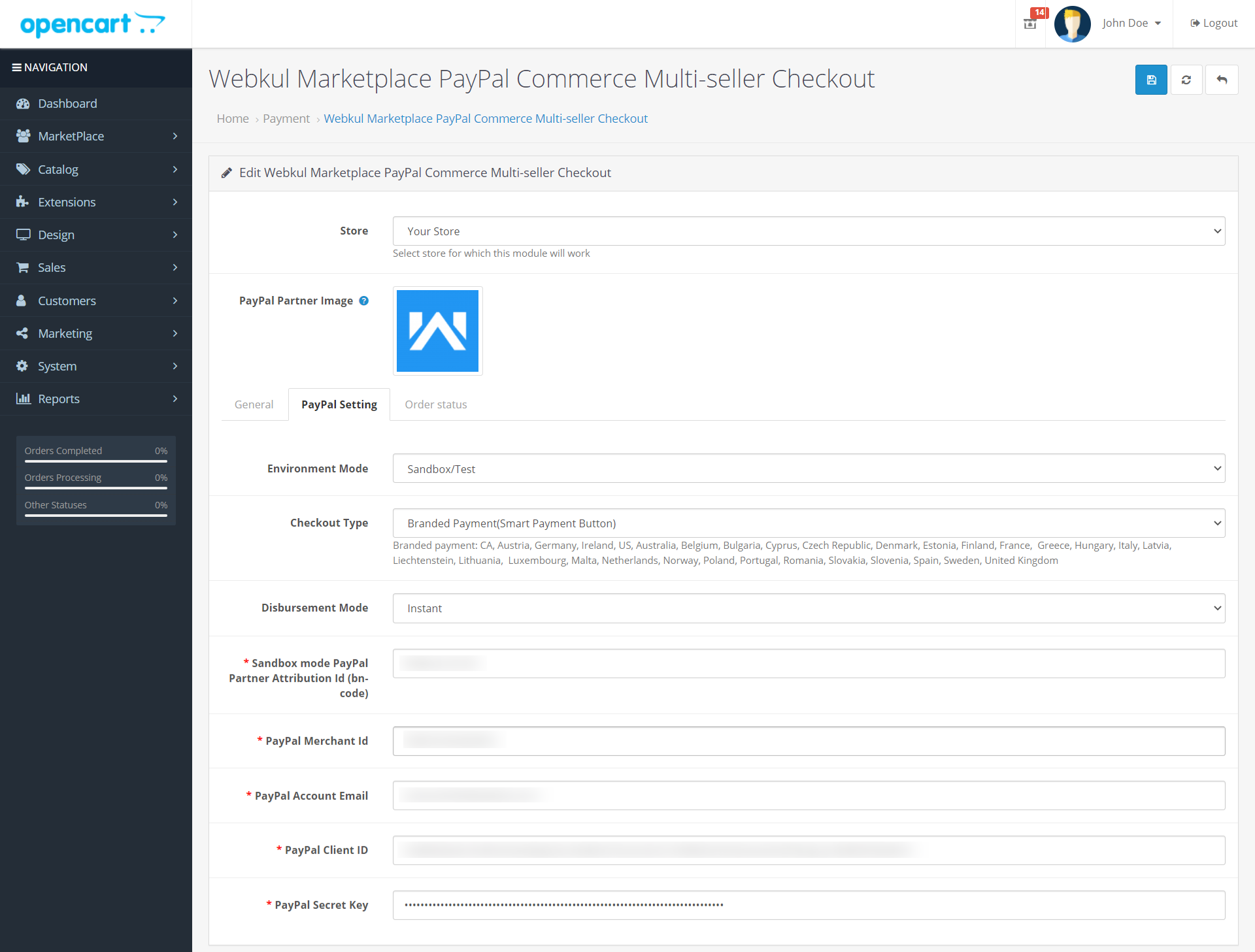 Webkul-Marketplace-PayPal-Commerce-Multi-seller-Paypal-Setting