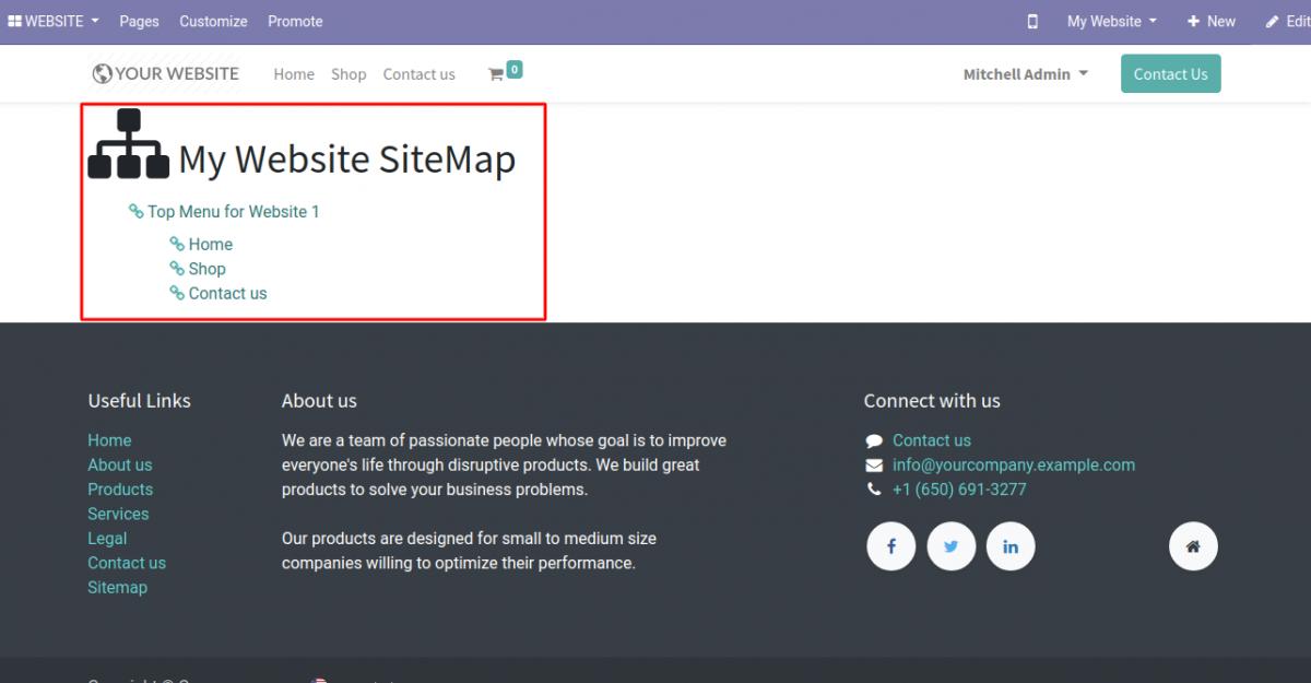 Odoo website Sitemap