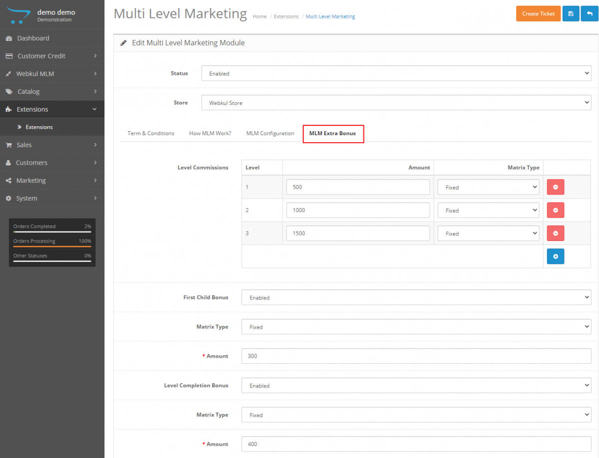 webkul-opencart-multi-level-marketing-admin-bonuses