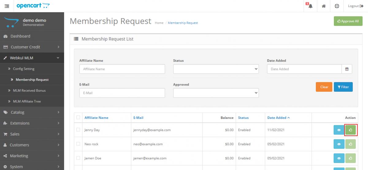 webkul-opencart-multi-level-marketing-admin-membership-request-list
