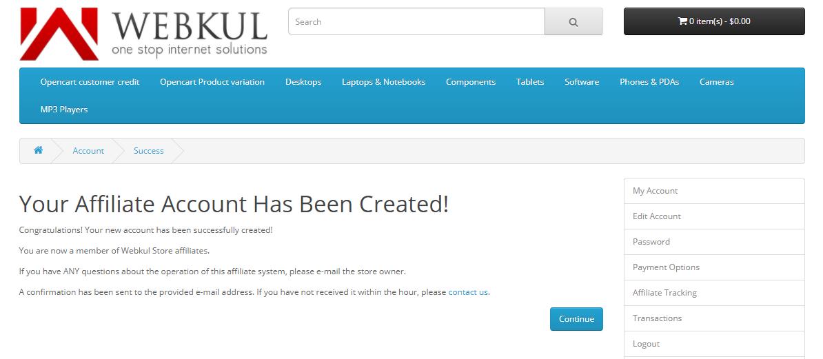 webkul-opencart-multi-level-marketing-customer-affilioate-account-created