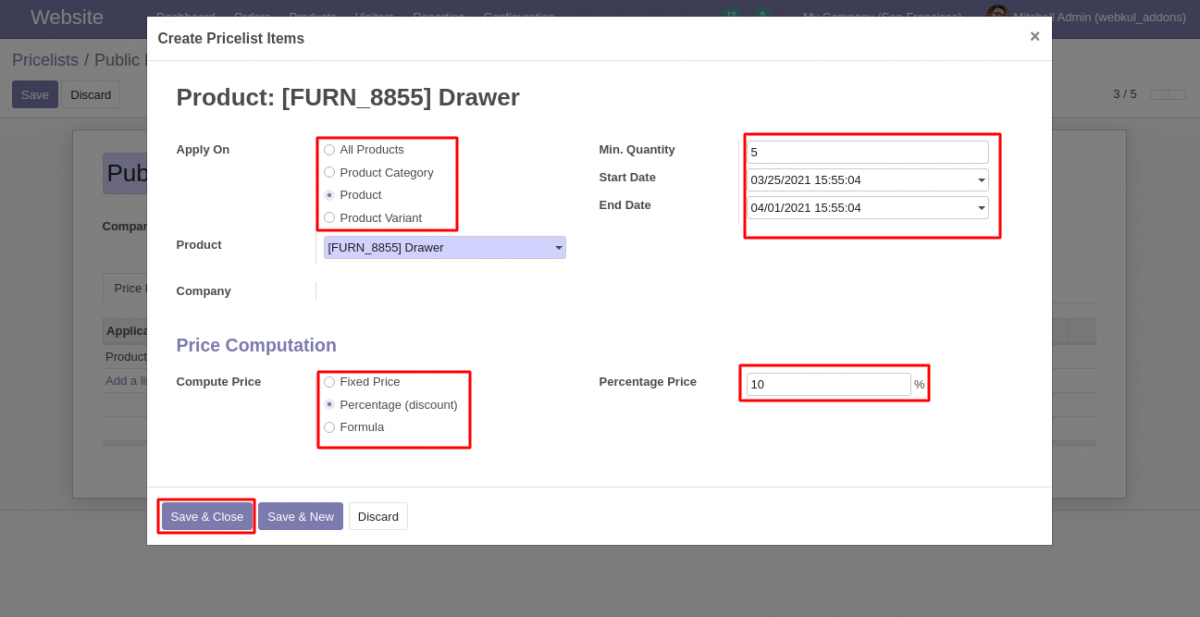 Odoo product slot pricing