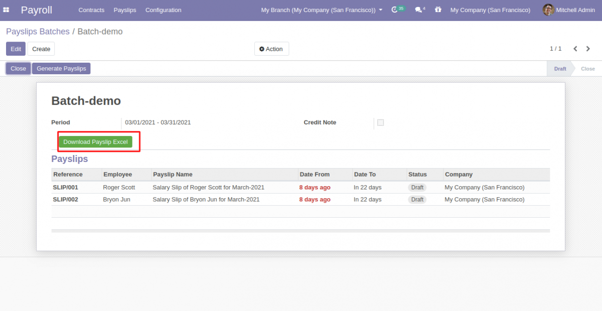 Odoo [rint Payslip Excel Reports
