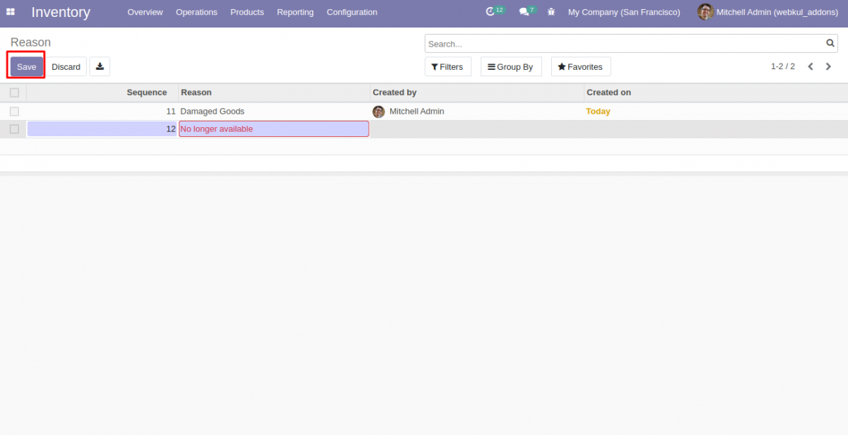 Odoo Stock Picking Cancellation Reasons