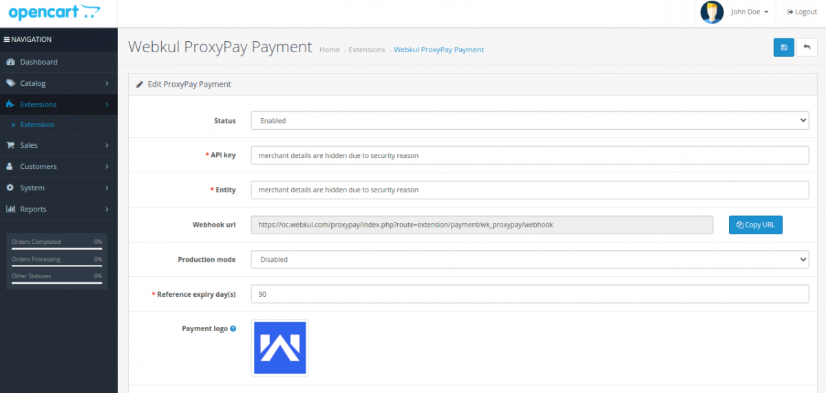 Webkul-ProxyPay-Payment-configuration