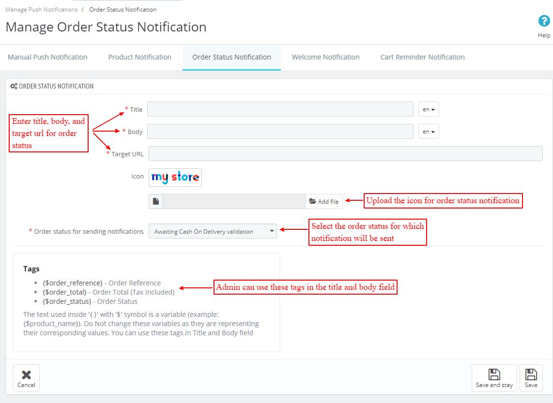 create new order status notification