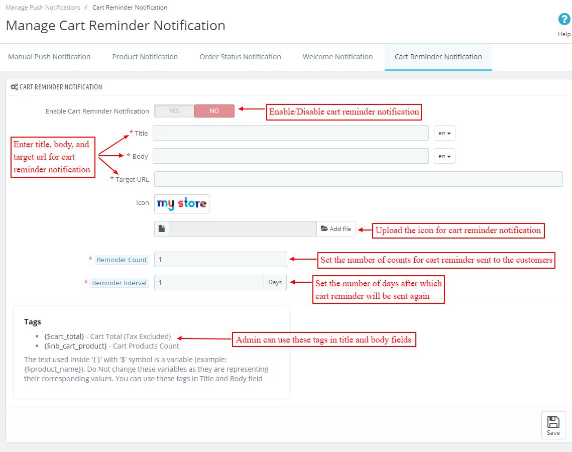manage cart reminder notification