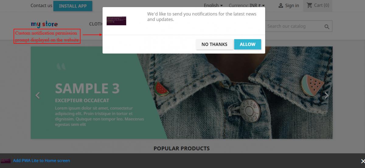 custom notification prompt