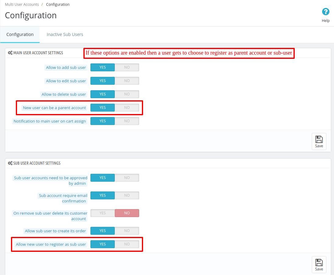 Enabling parent user & sub-user registration option