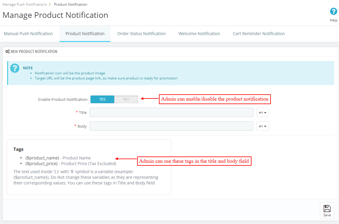 manage product notification