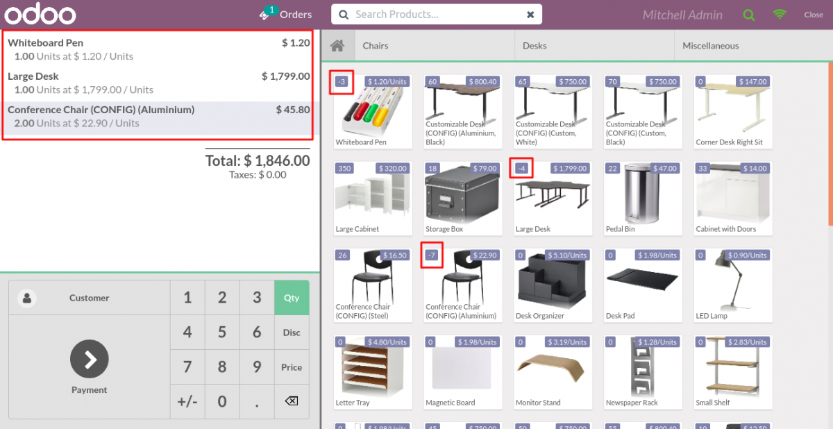 POS order when product is out of stock.