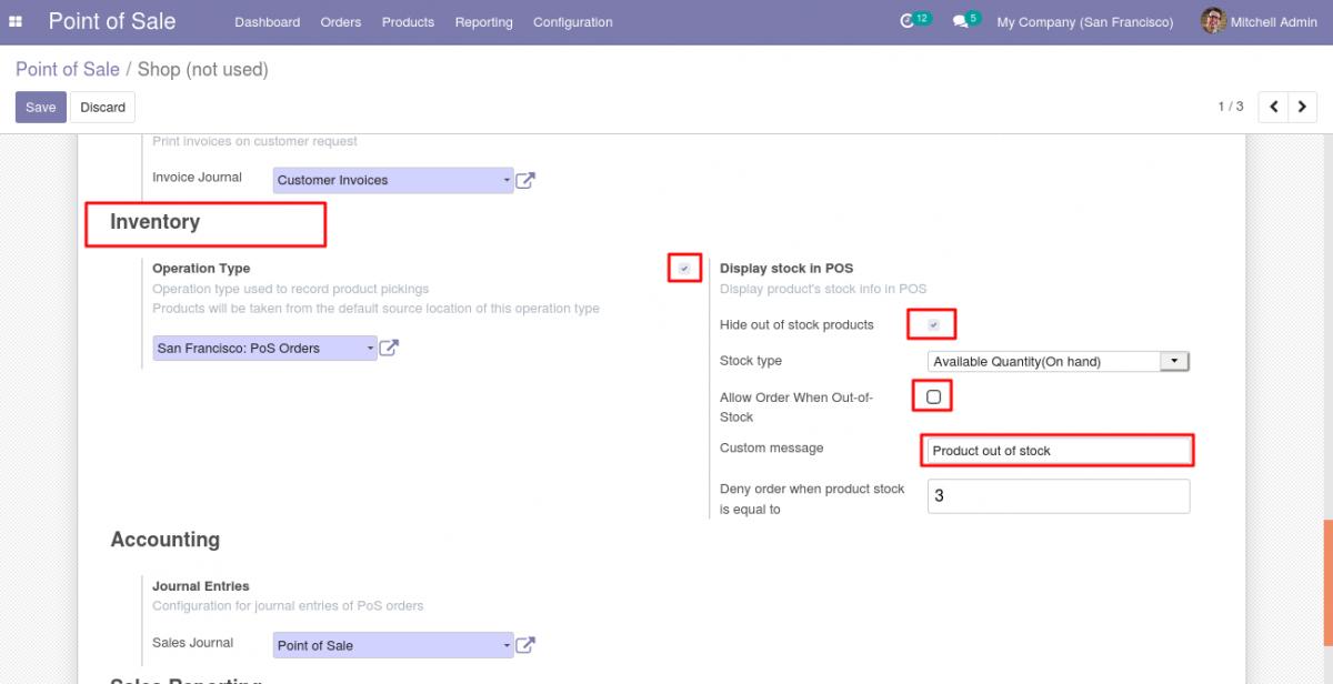 Configure the POS Stock settings.