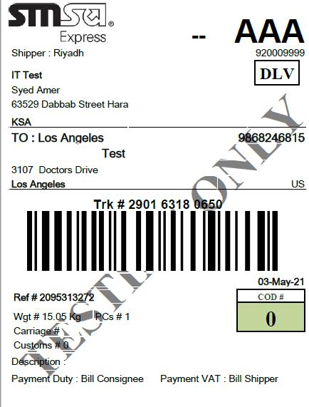 labels SMSA Shipping -SMSA Shipping for Magento 2 Multi-Vendor