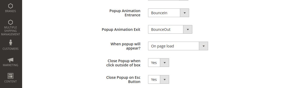 Popup Animation Entrance