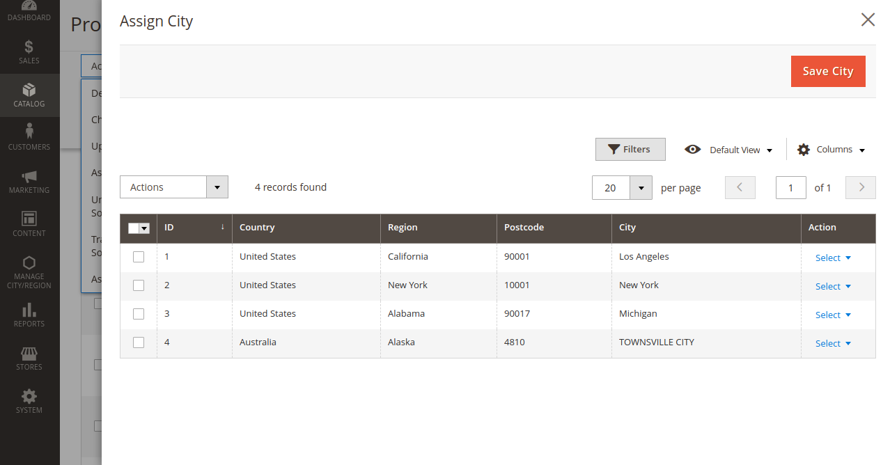 mass assign city_City Zone Area Based Delivery for Magento 2