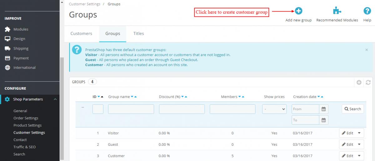 create customer group