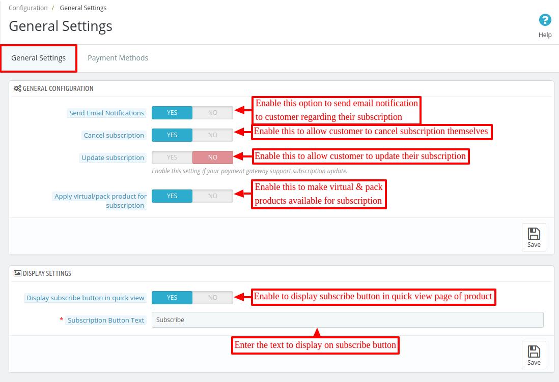 Configure Prestashop Subscription Products