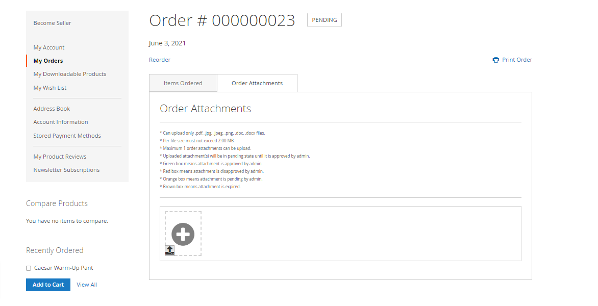 Magento 2 Marketplace Order Attachment
