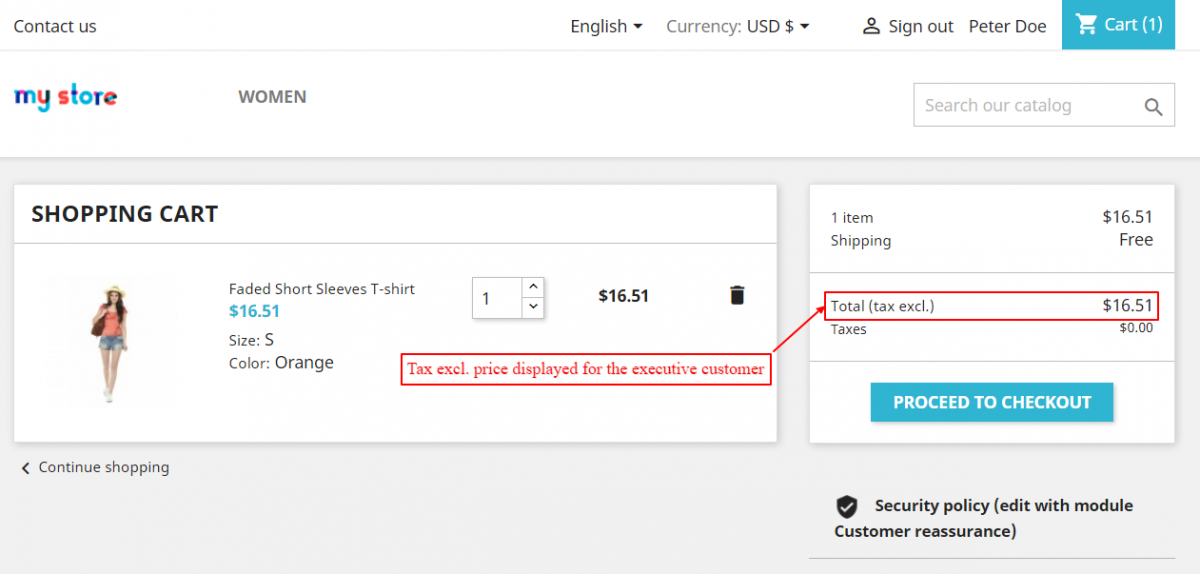 display tax excl price