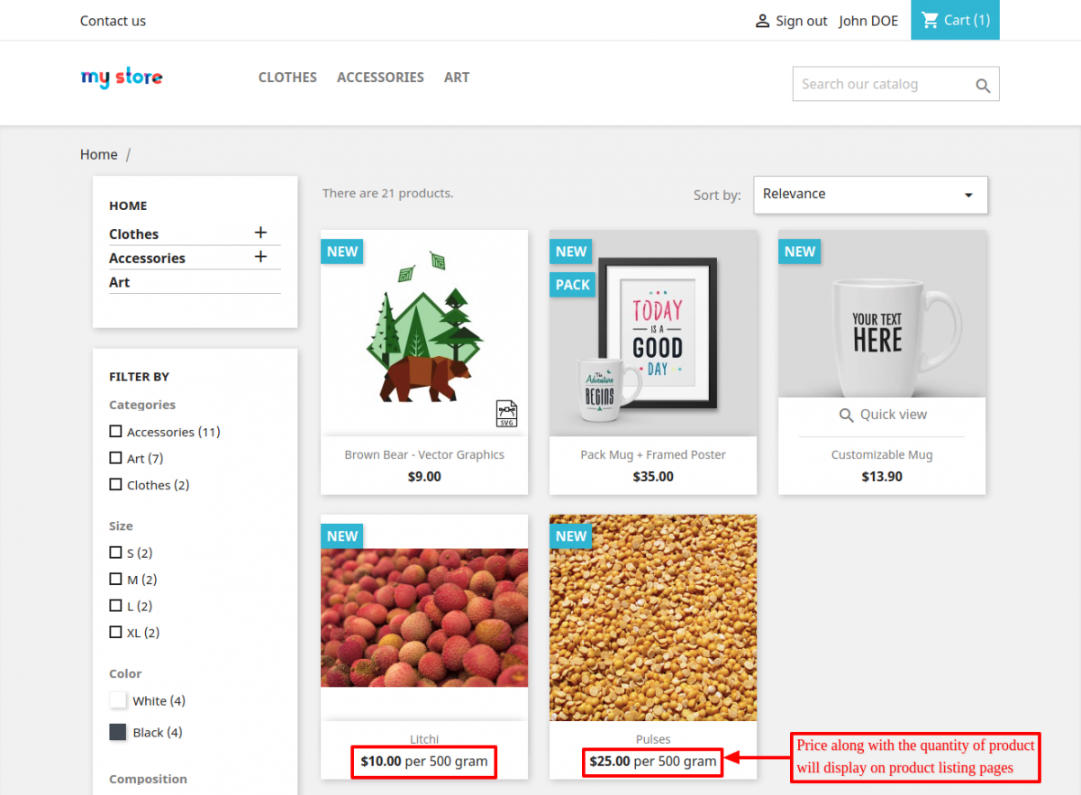 Display of Initial Quantity on product listing pages