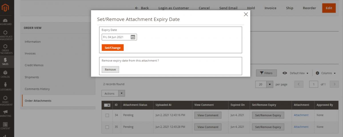 Magento 2 order attachment
