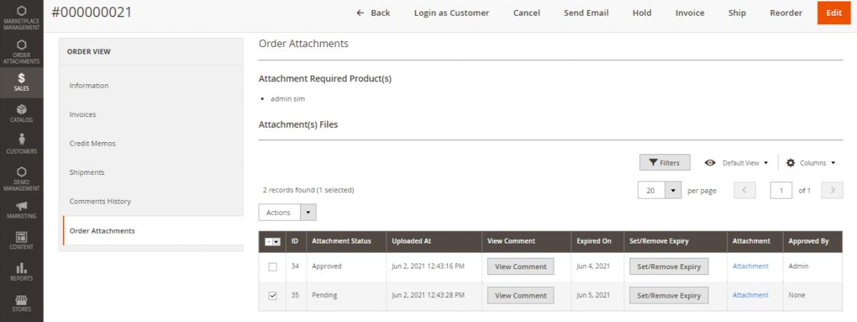 Status Magento 2 Order Attachment
