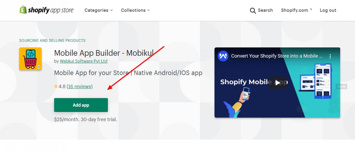 Shopify Mobikul Mobile Add App
