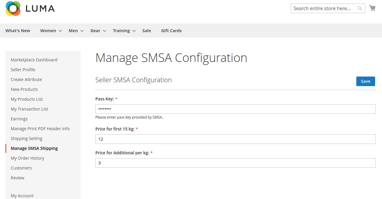 Manage SMSA Configuration-SMSA Shipping for Magento 2 Multi-Vendor