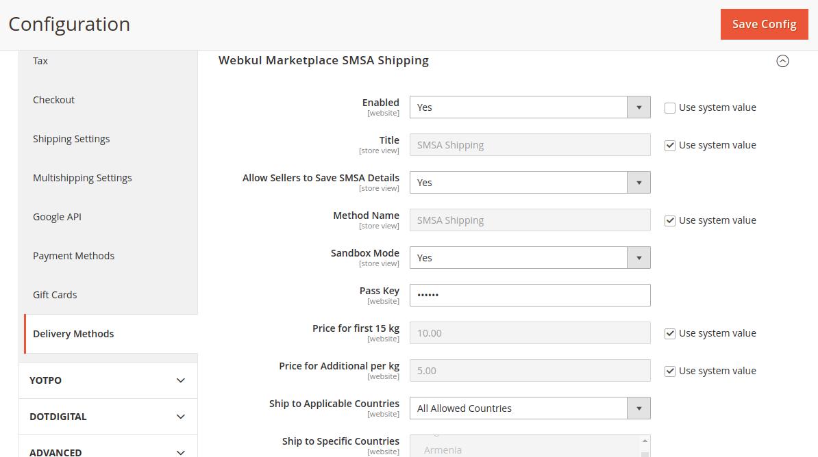 SMSA Shipping for Magento 2 Multi-Vendor