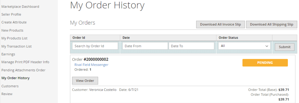 Order History marketplace order attachments