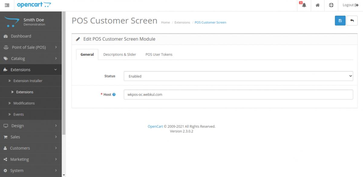 POS Customer General Customer Cart Screen for Opencart POS